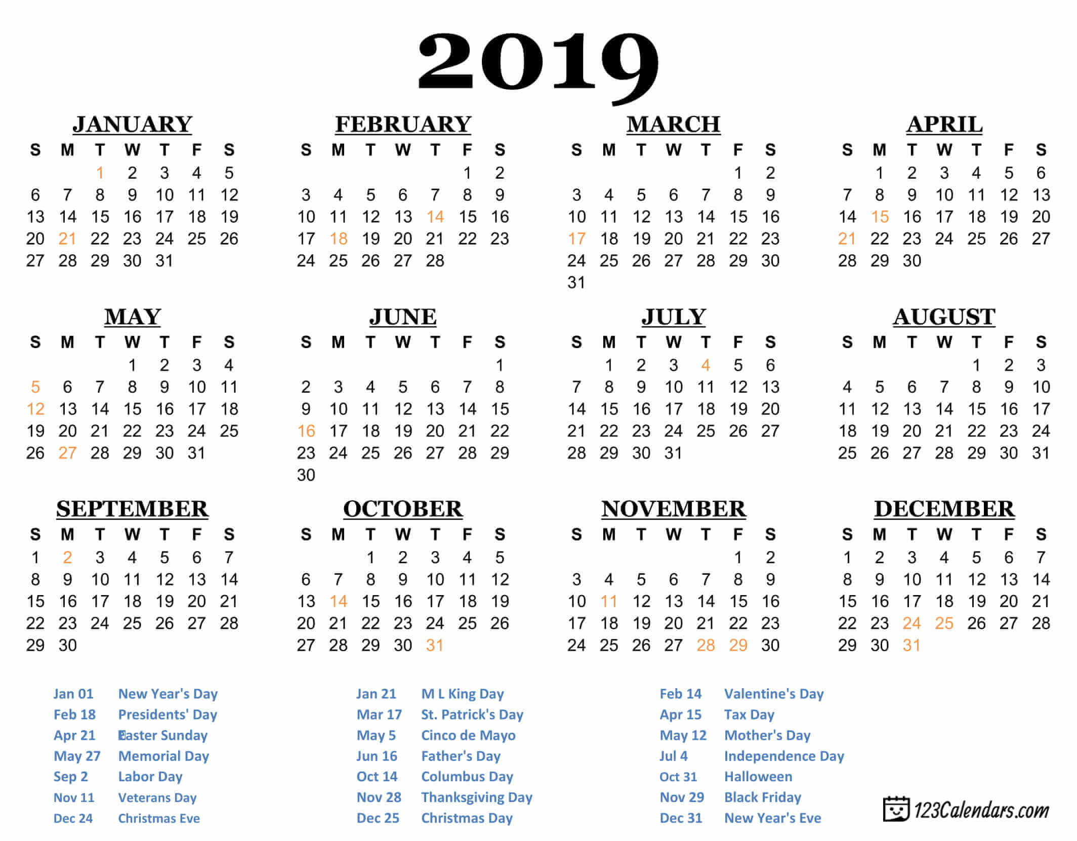 year 2019 printable calendar templates 123calendars com