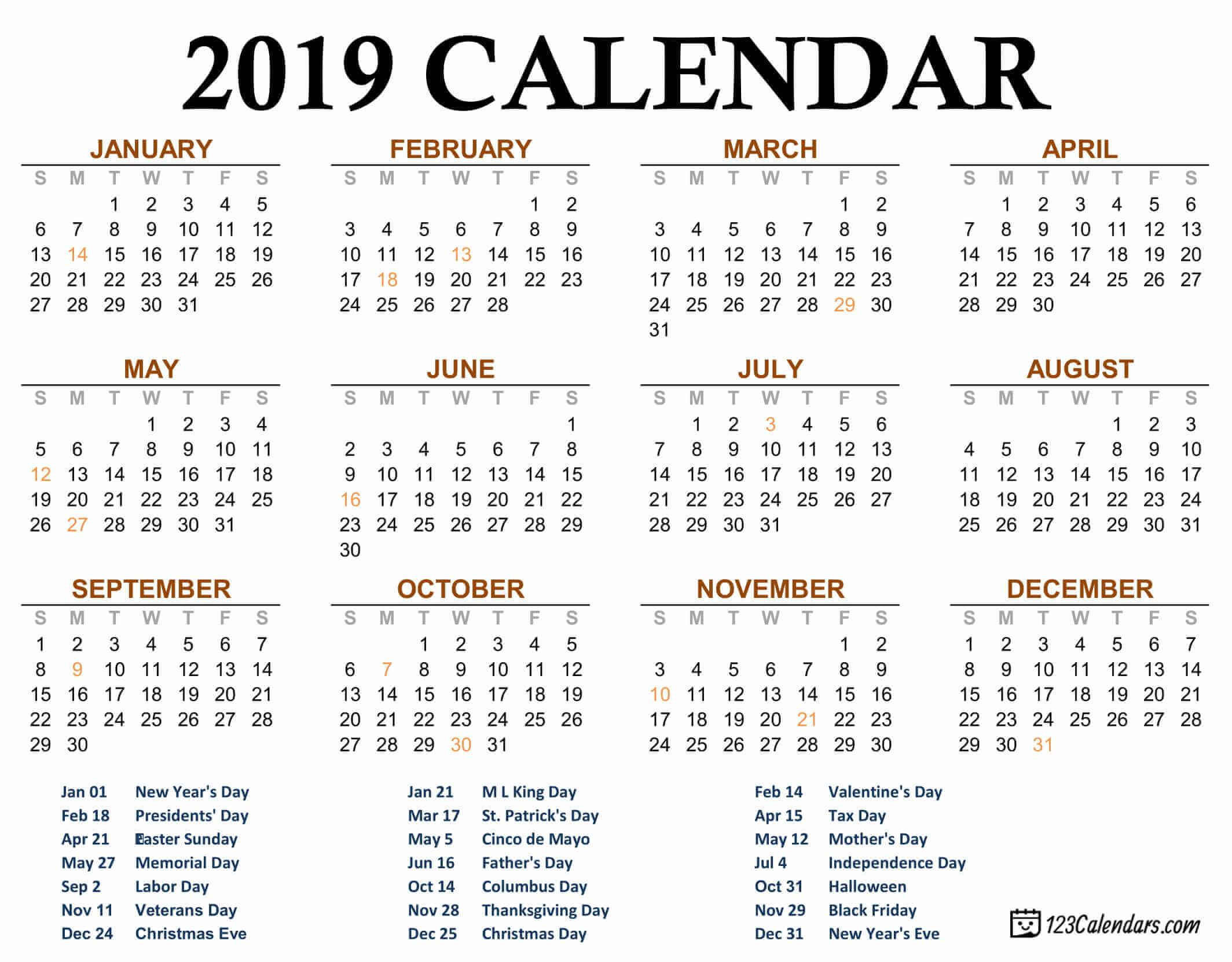Free Printable 2019 Calendar | 123Calendars com