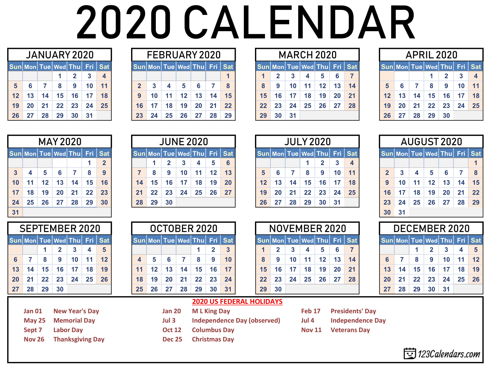 photograph regarding Free Printable 2020 Calendar With Holidays titled Free of charge Printable 2020 Calendar
