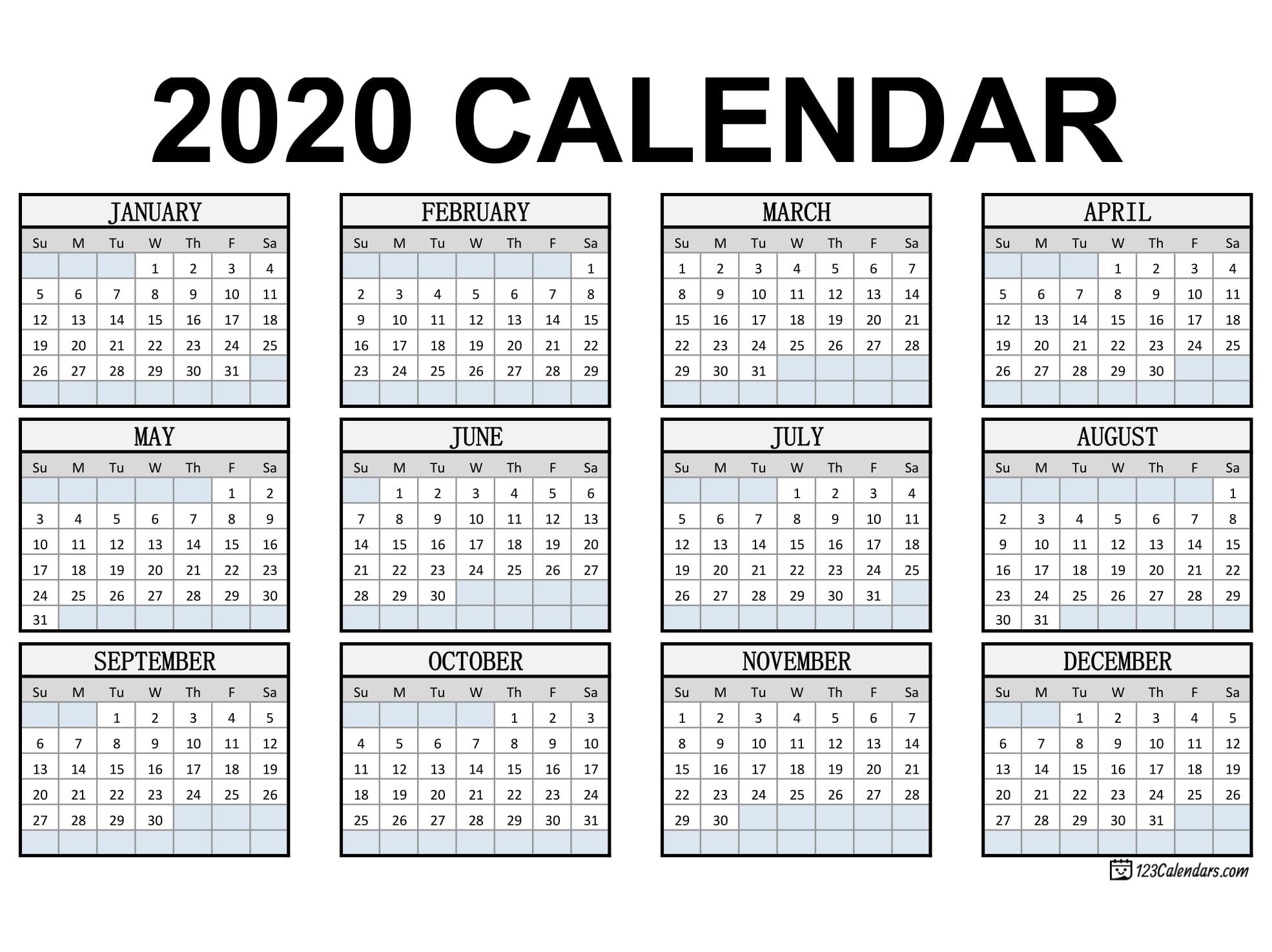 Free Printable 2020 Calendar 123calendars Com