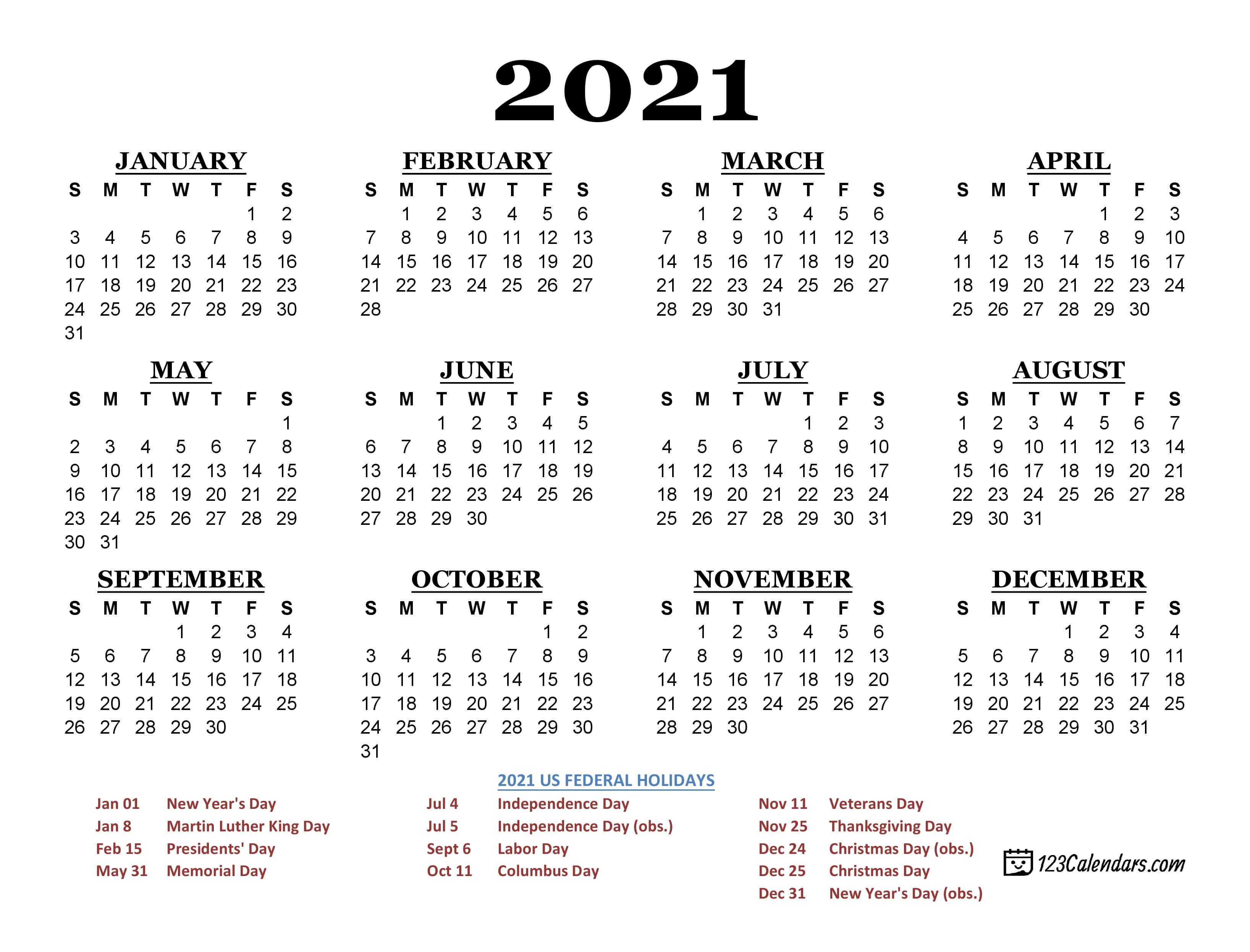 2021 Printable Calendar | 123Calendars.com