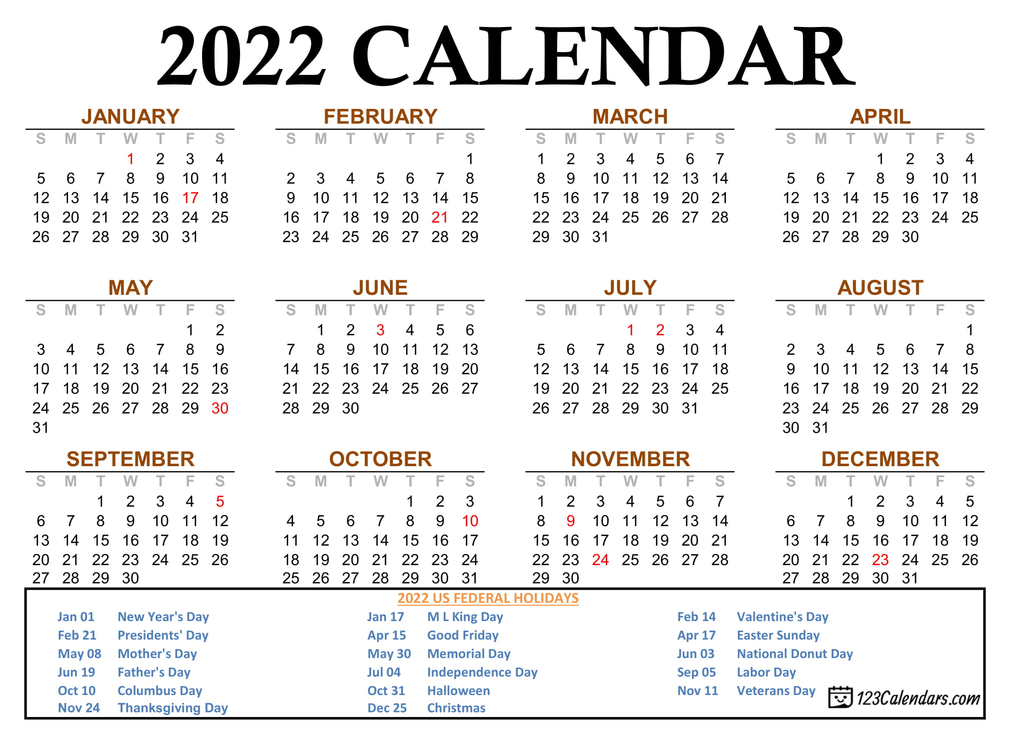 2022 2023 Calendar.Year 2022 Calendar Templates 123calendars Com