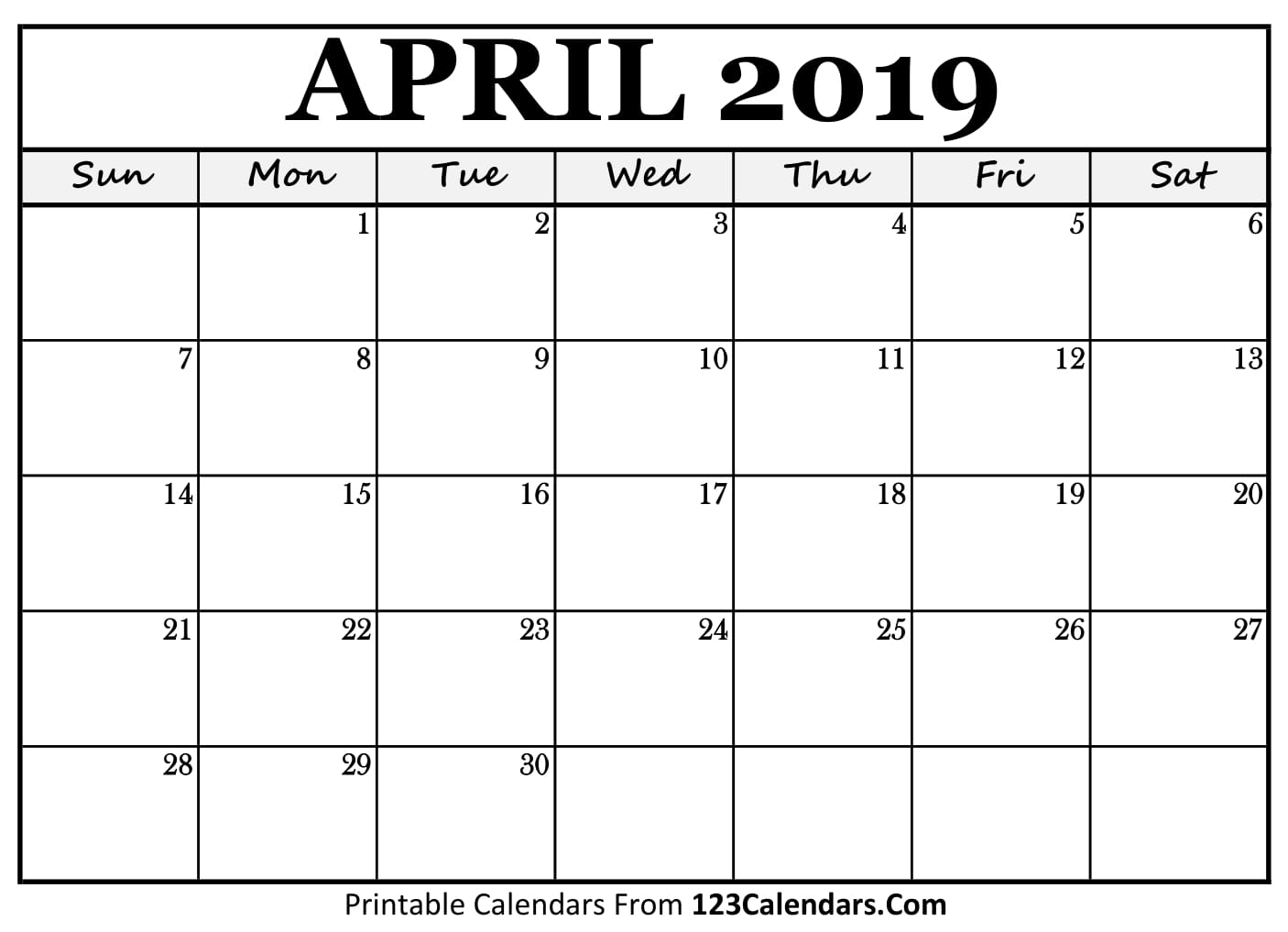 April 2019 Calendar Blank Easily Printable 123calendars