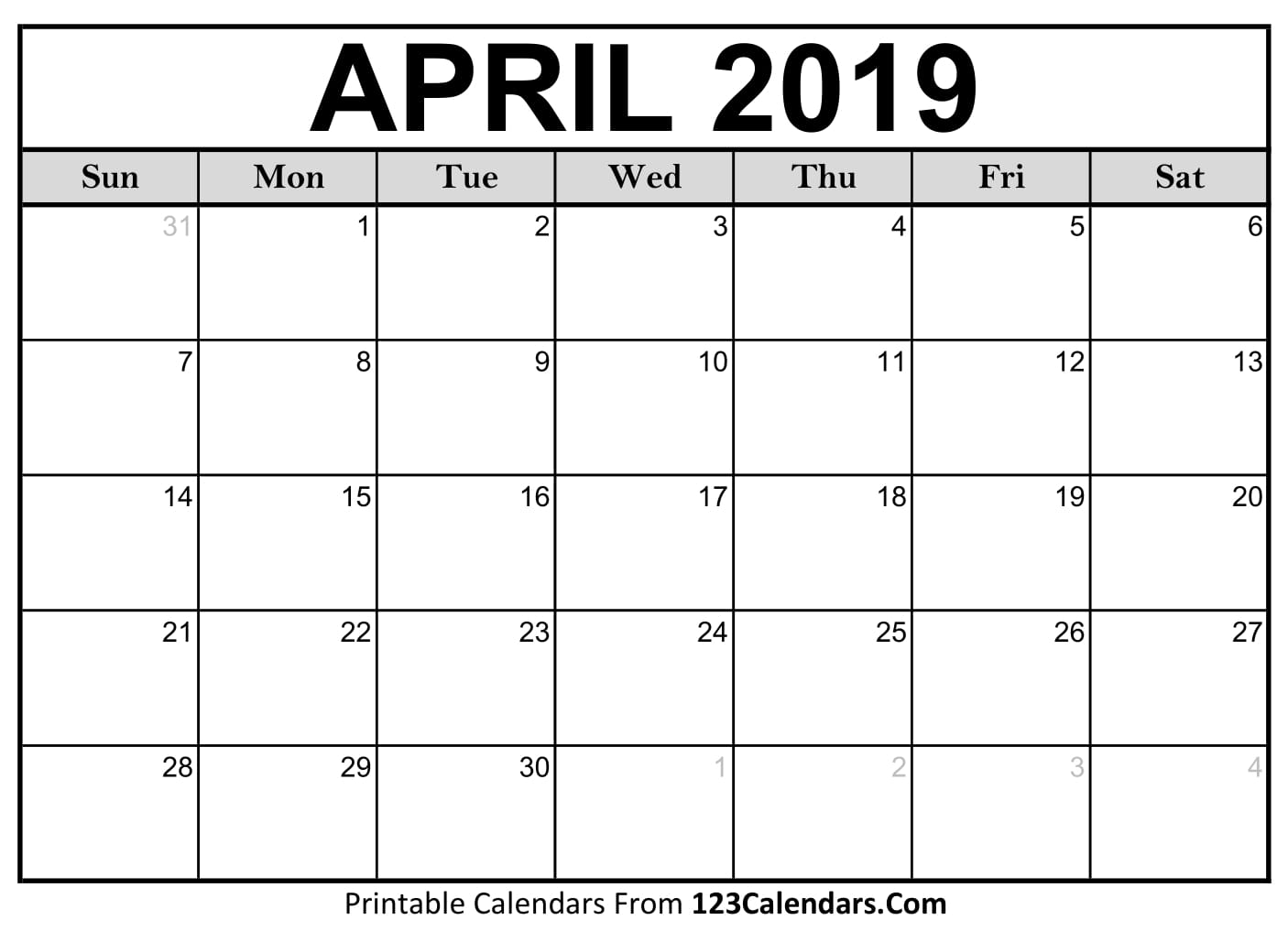 Calendar April 2018 : Free april calendar printable template source