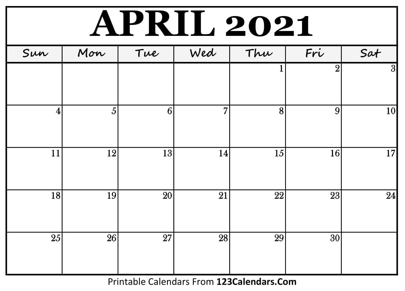 Printable April 2021 Calendar Templates | 123Calendars.com