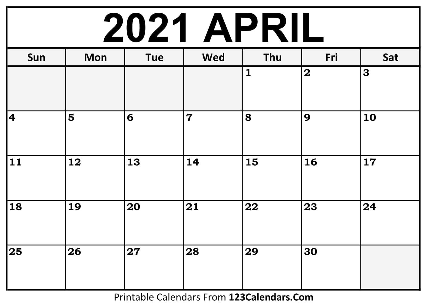 Printable April 2021 Calendar Templates 123calendars Com