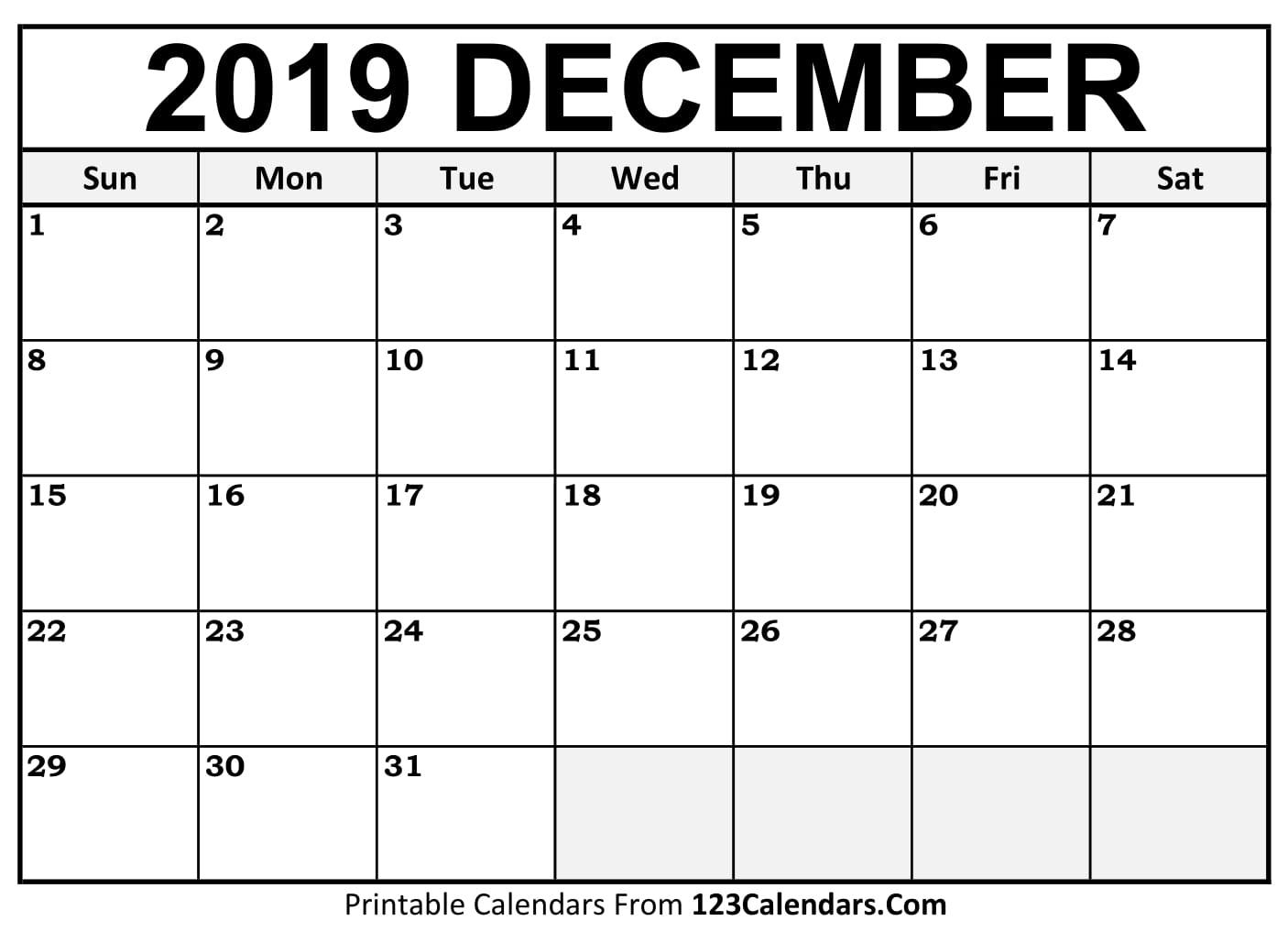 December 2018 Calendar Free Download