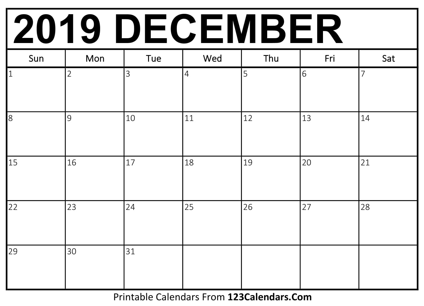 graphic about Printable Monthly Calendar December named December 2019 Printable Calendar