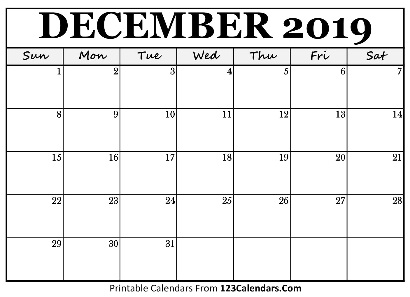 graphic regarding Printable Monthly Calendar December named December 2019 Printable Calendar