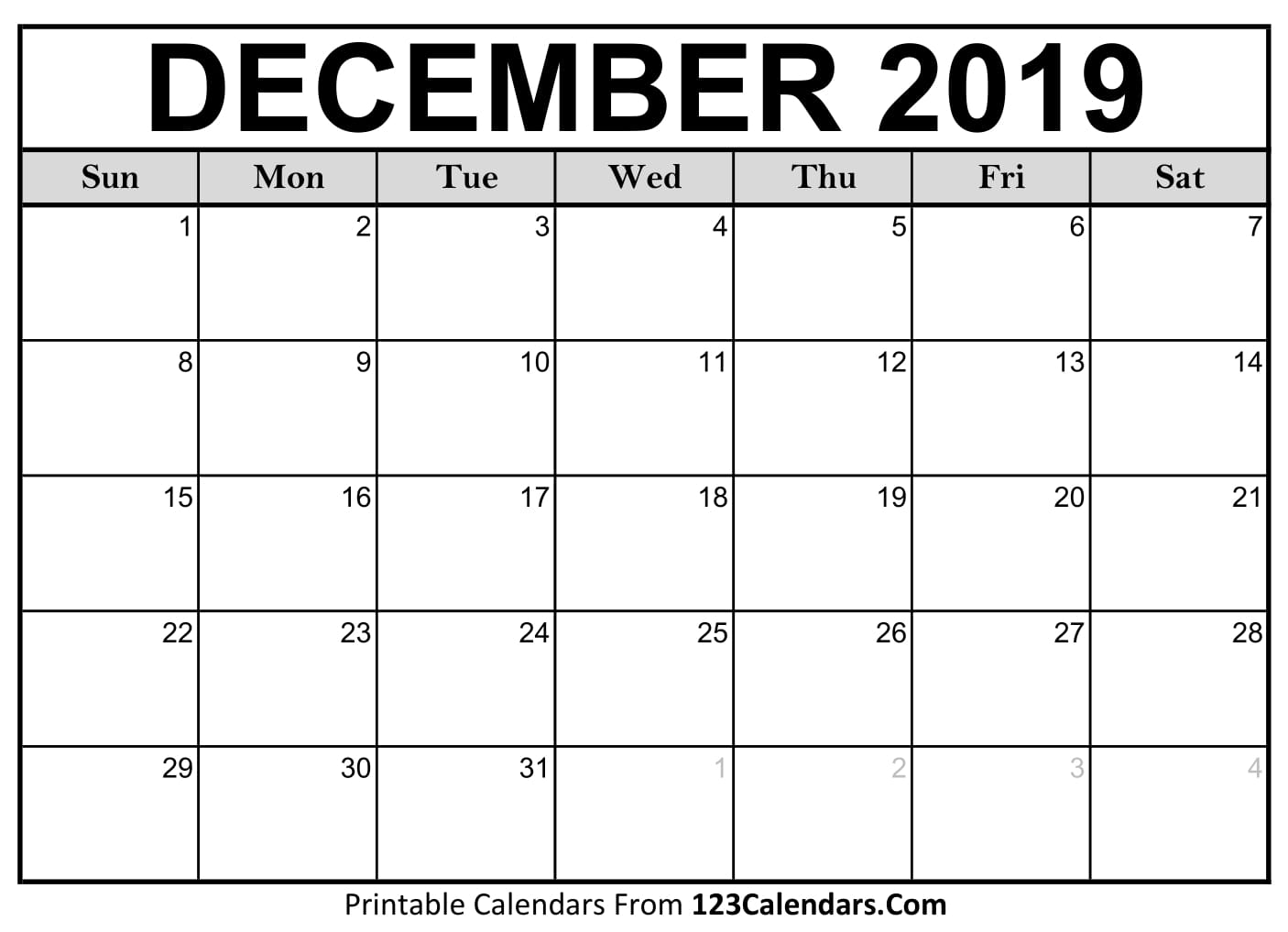 graphic relating to Printable Calendar for October named December 2019 Printable Calendar