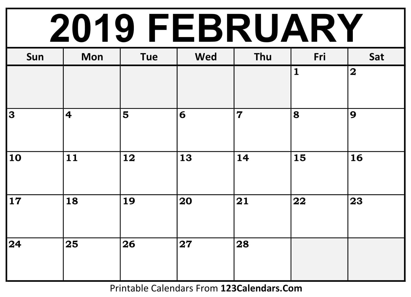 printable february 2018 calendar