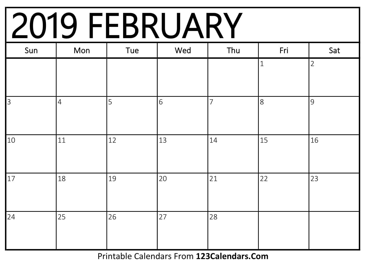 February 2019 Calendar Blank Easily Printable 123calendars