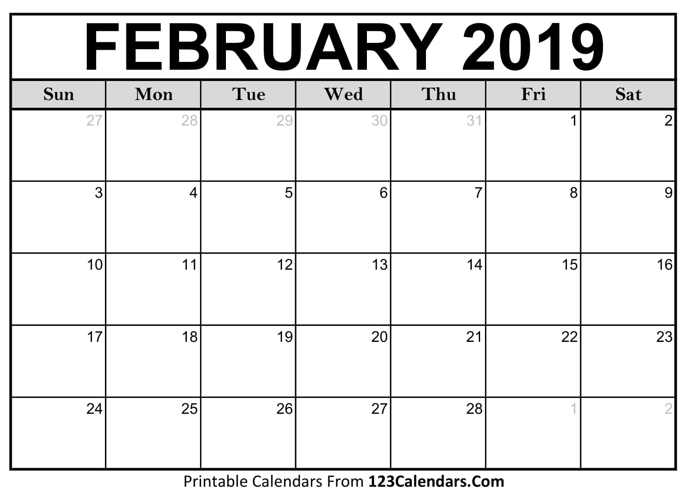 Images Of Calendars February 2019 2019 Printable Monthly Calendar Formats (Blank) | Zenodo