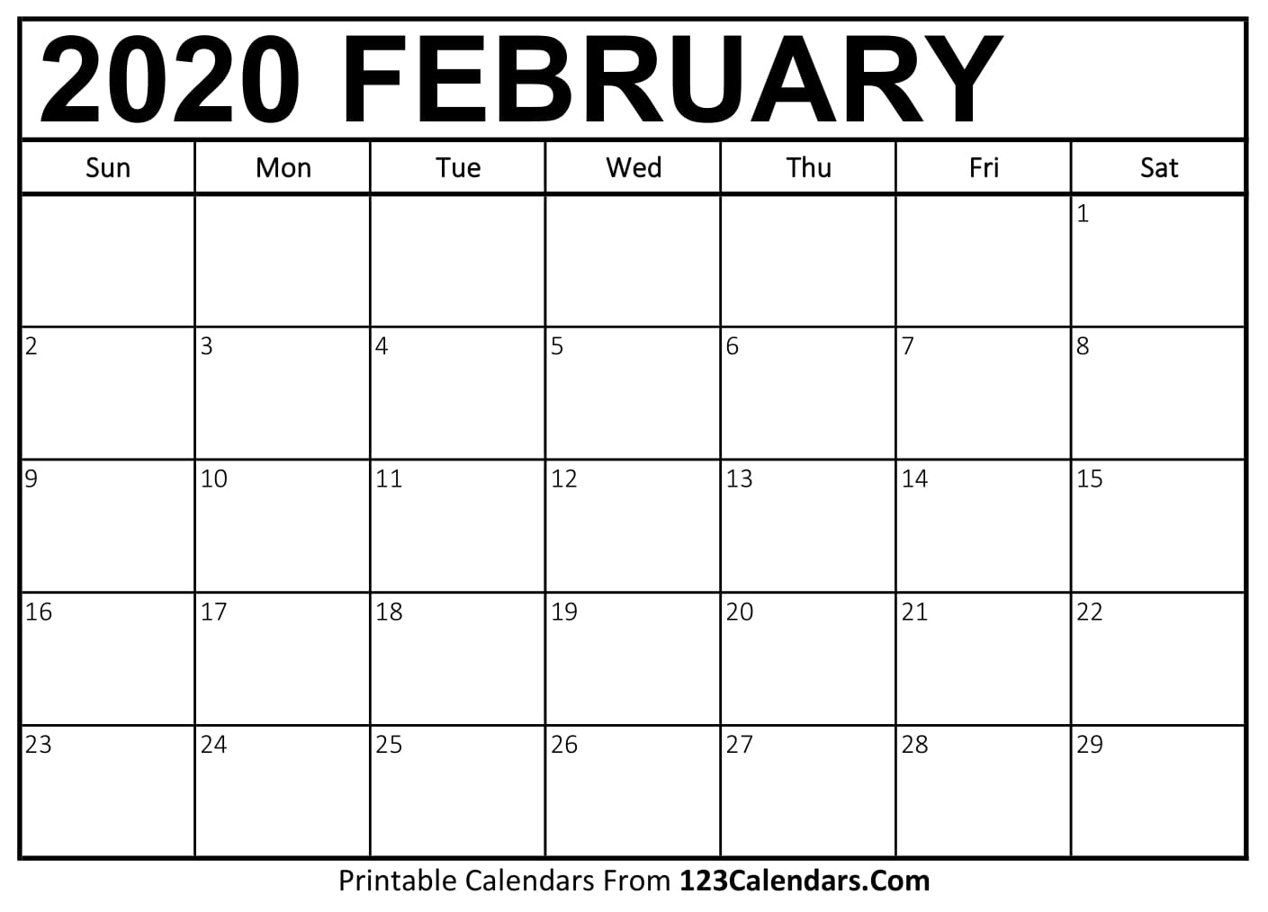 image about Printable Feb. Calendar titled February 2020 Printable Calendar