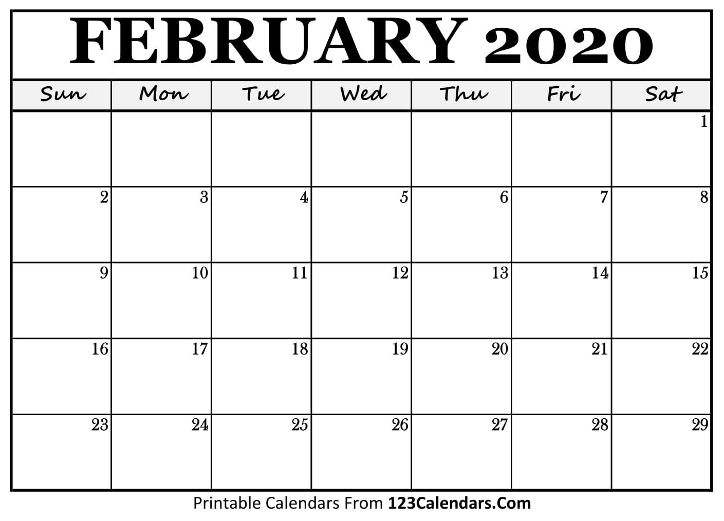 photo relating to Calendar February Printable identified as February 2020 Printable Calendar