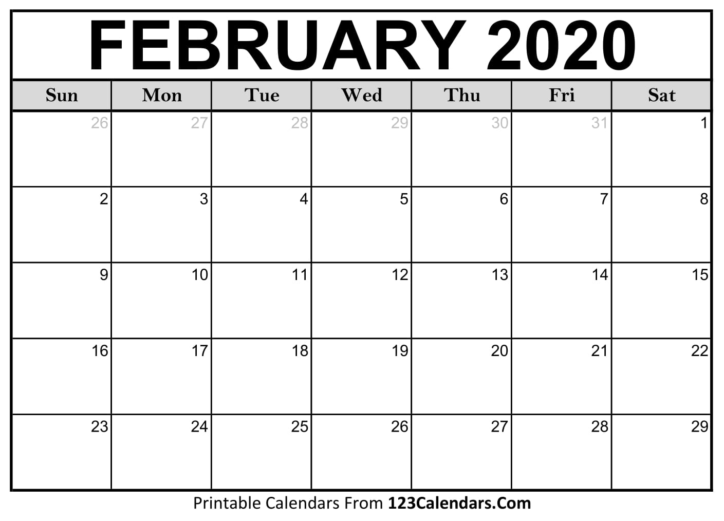 picture about Printable Calendar February called February 2020 Printable Calendar