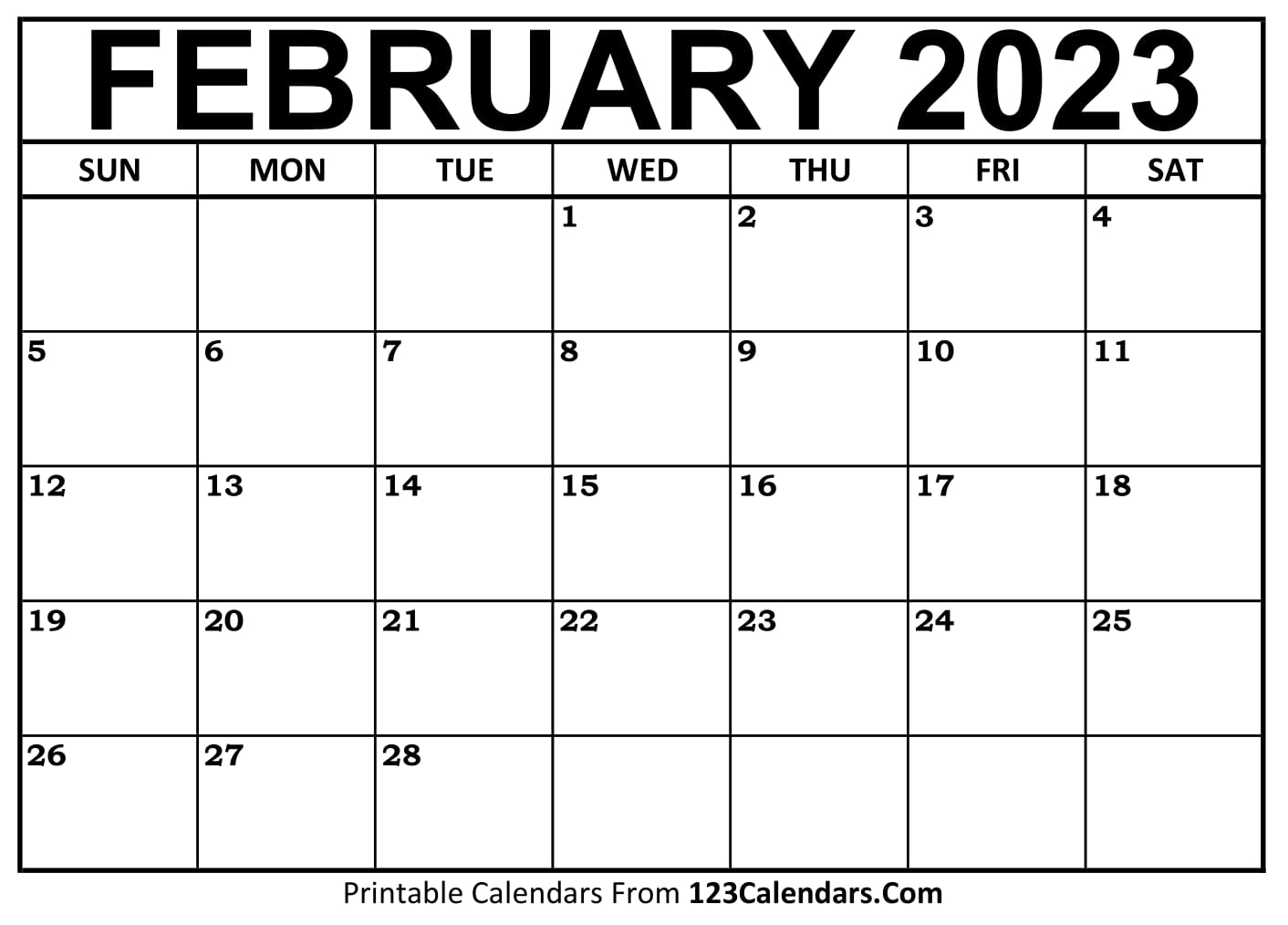August Blank Calendar 2022.Printable February 2021 Calendar Templates 123calendars Com