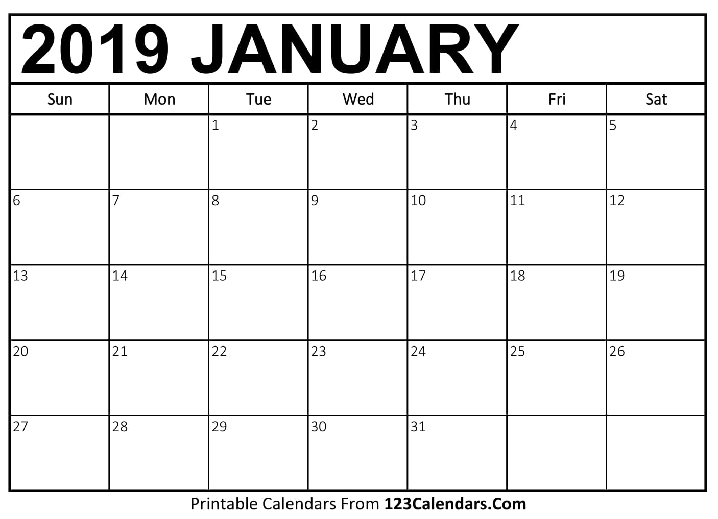 Picture Of January Calendar 2019 Free Printable Calendar | 123Calendars.com