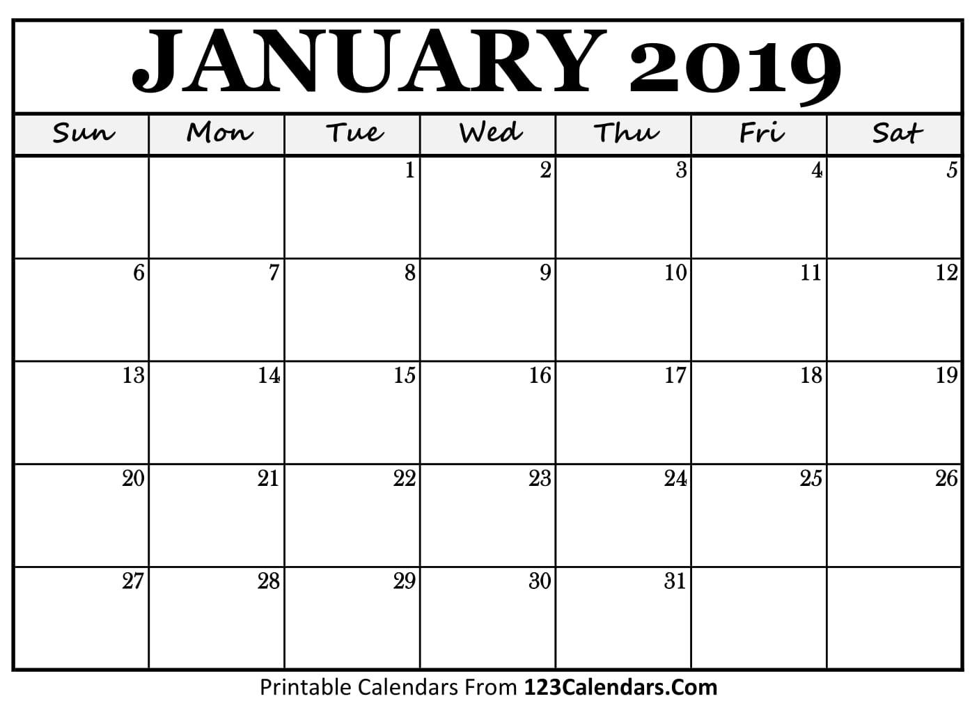 january 2018 calendar printable
