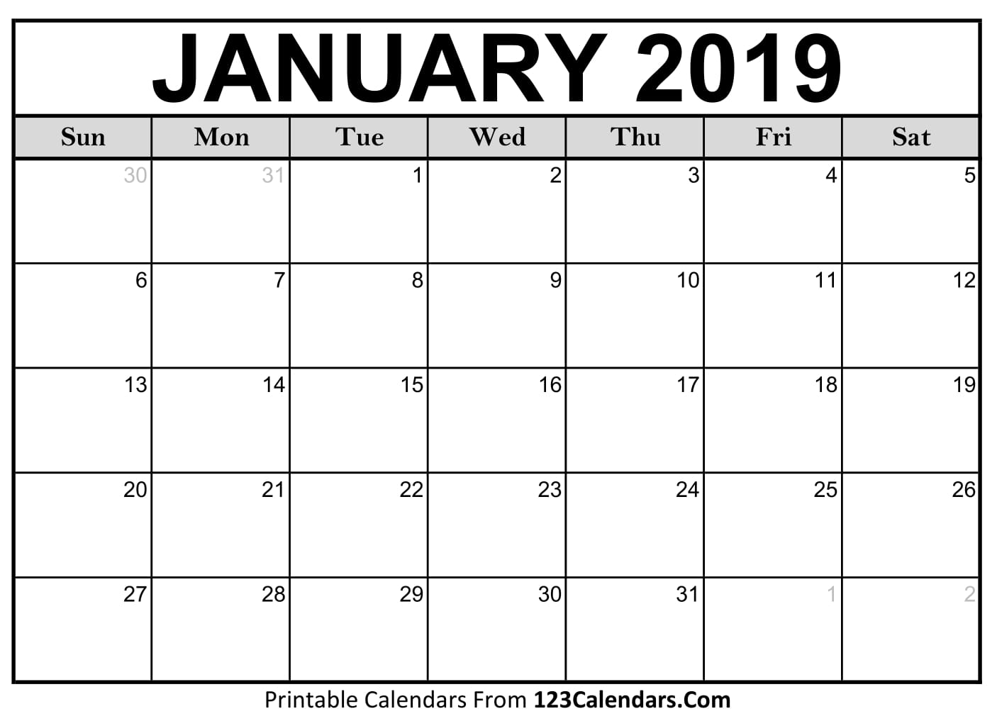 January 2019 Calendar Blank Easily Printable 123calendars