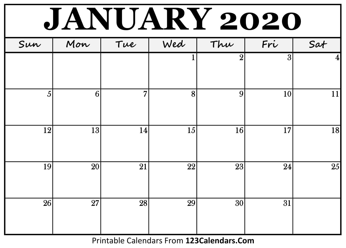Fill In The Blank Calendar December 2020- January 2020 January 2020 Printable Calendar | 123Calendars.com