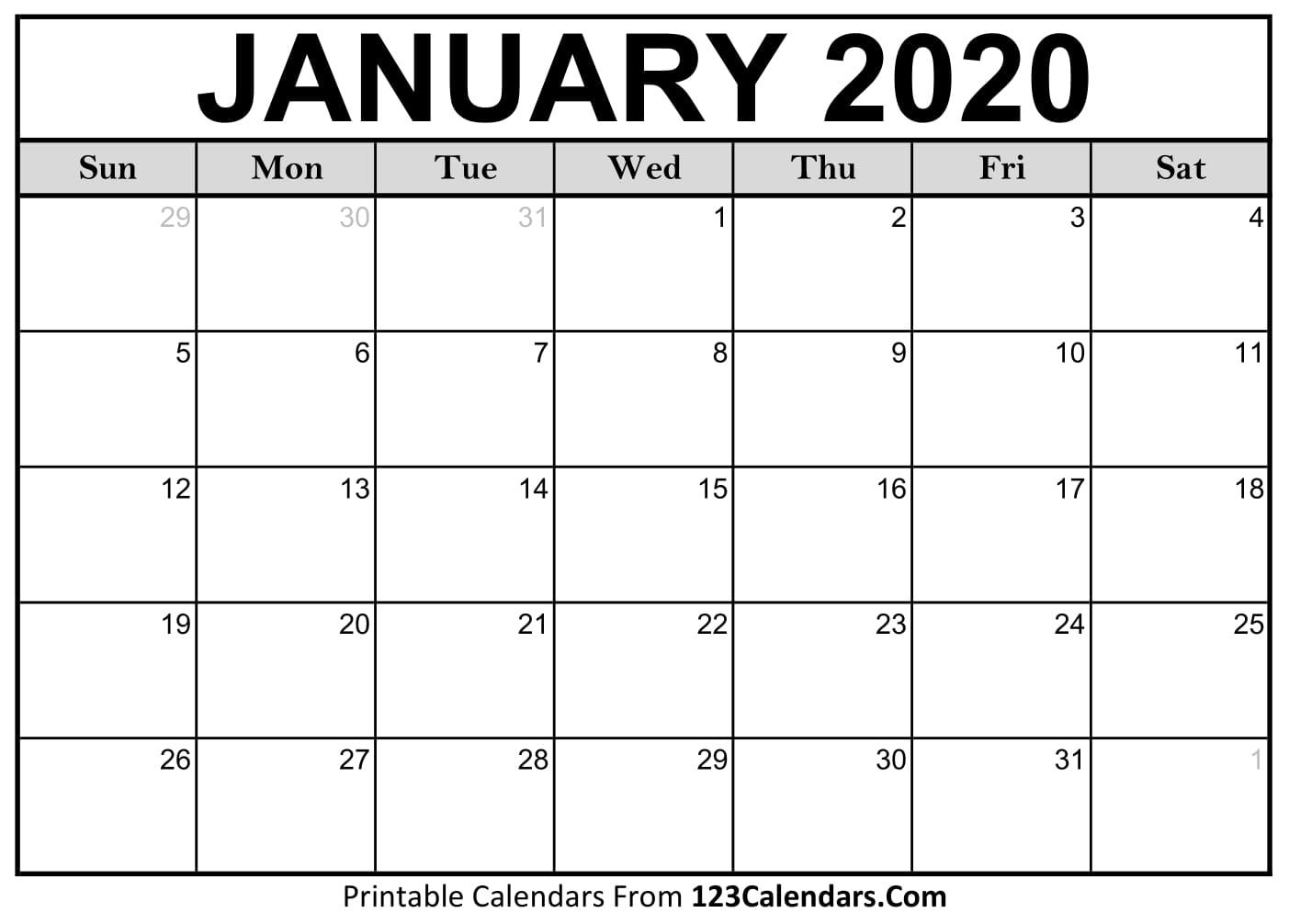 Calendar Events January 2020 January 2020 Printable Calendar | 123Calendars.com