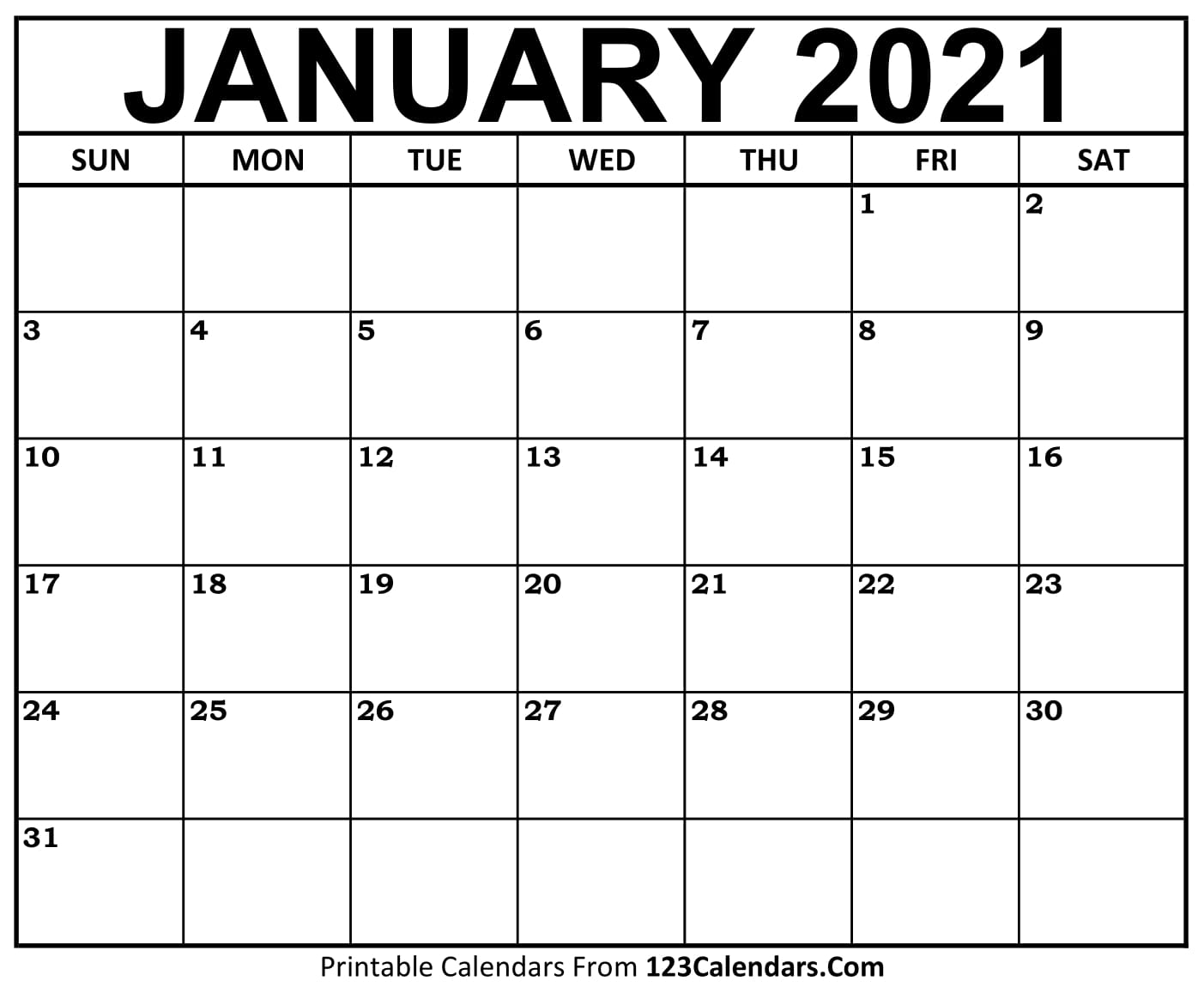 January 2021 Printable Calendar Printable January 2021 Calendar Templates | 123Calendars.com