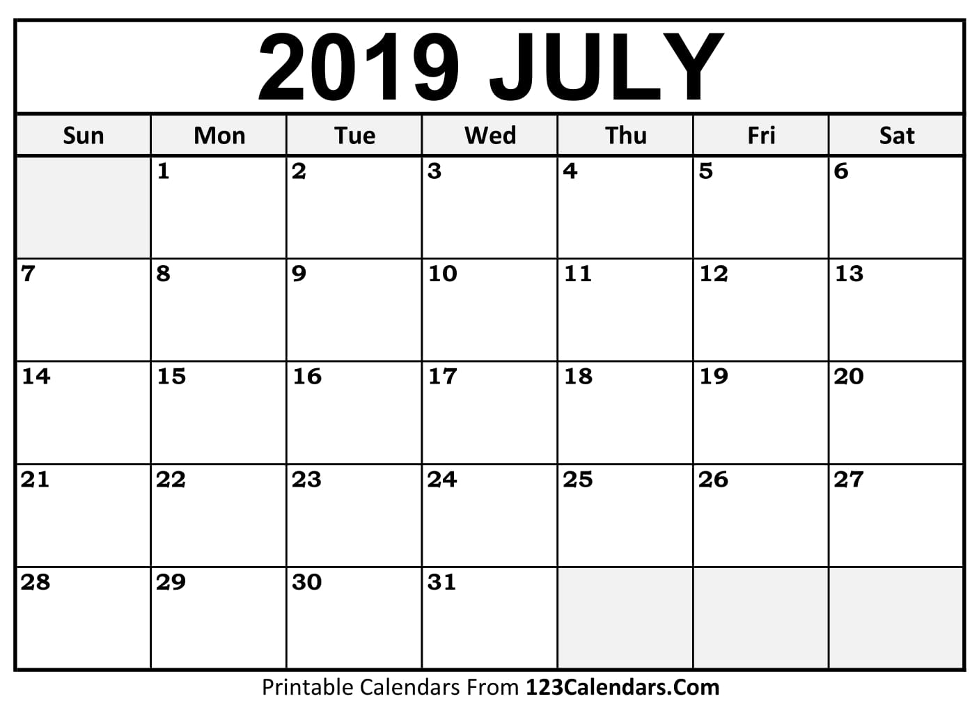 Calendar Of June And July : Printable july calendar templates calendars