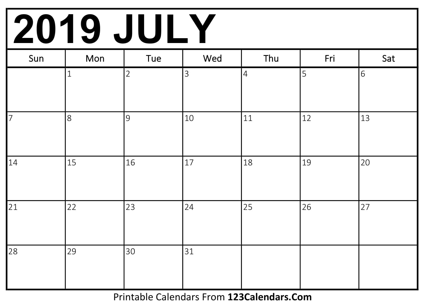 Printable July 2018 Calendar Templates - 123Calendars.Com