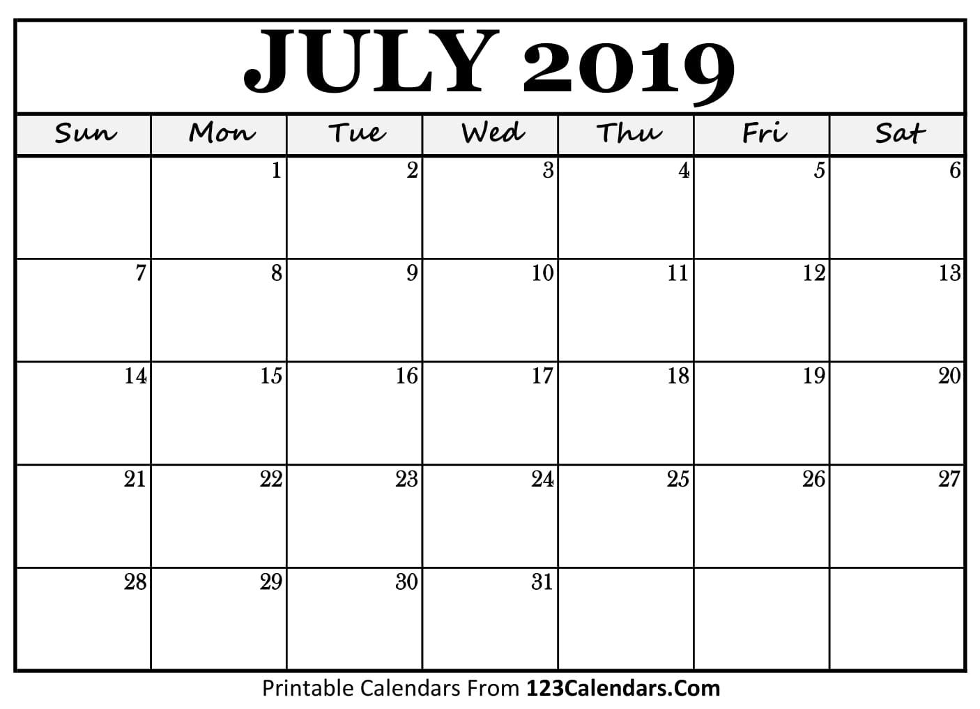 July 2019 Calendar Blank Easily Printable 123calendars