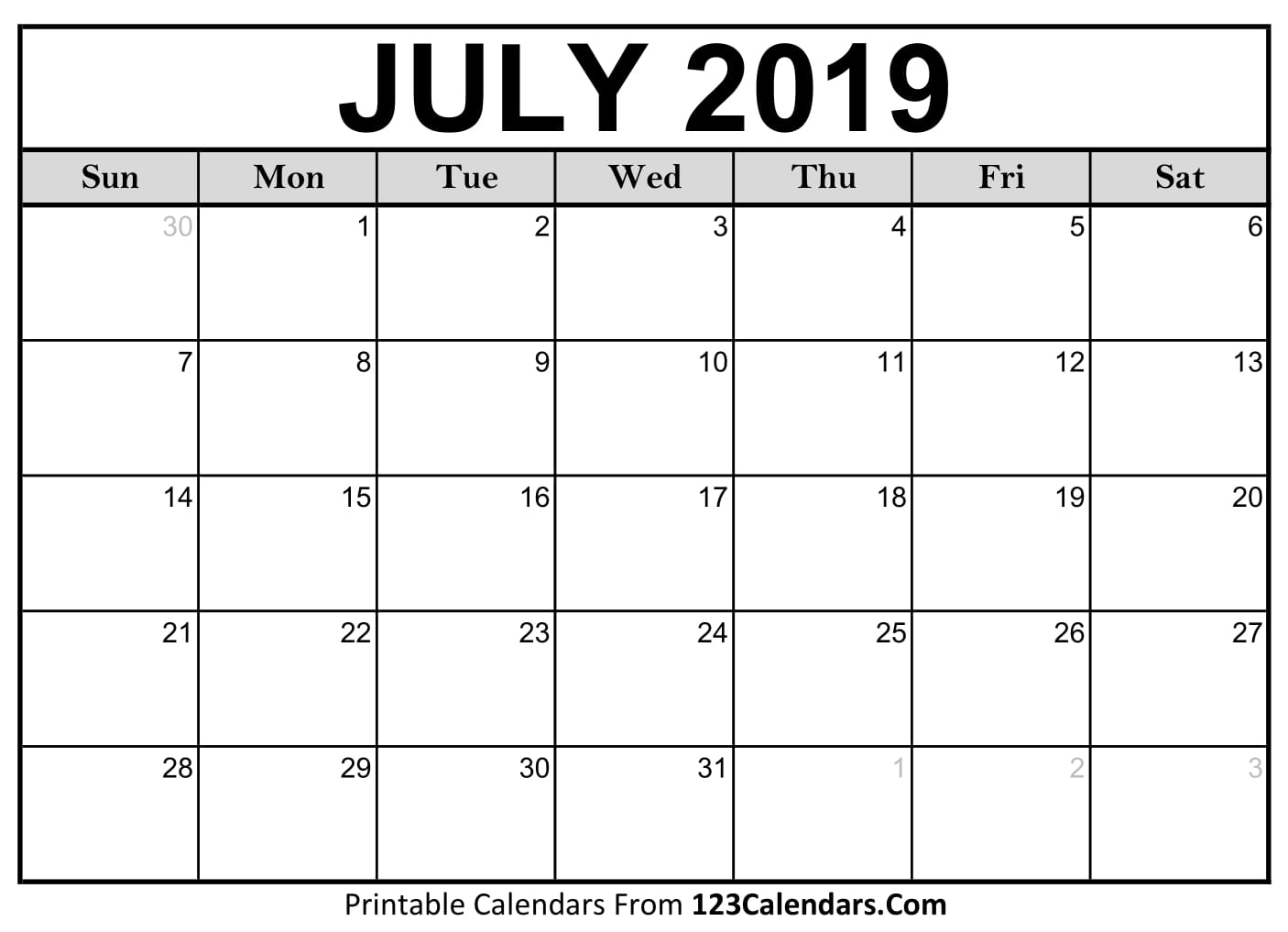2019 Calendar July July 2019 Printable Calendar | 123Calendars.com