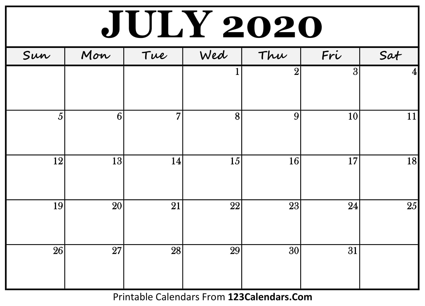 picture relating to July Printable Calendar known as July 2020 Printable Calendar