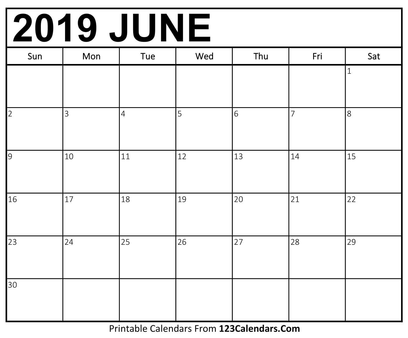 June 2019 Calendar Blank Easily Printable 123calendars
