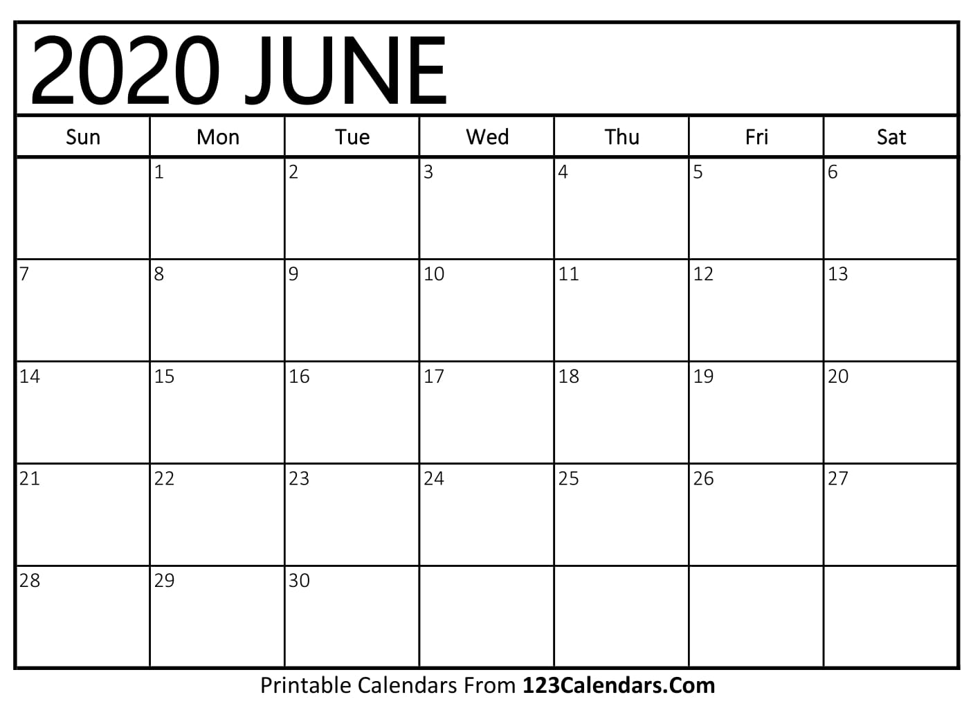 picture relating to Printable June named June 2020 Printable Calendar