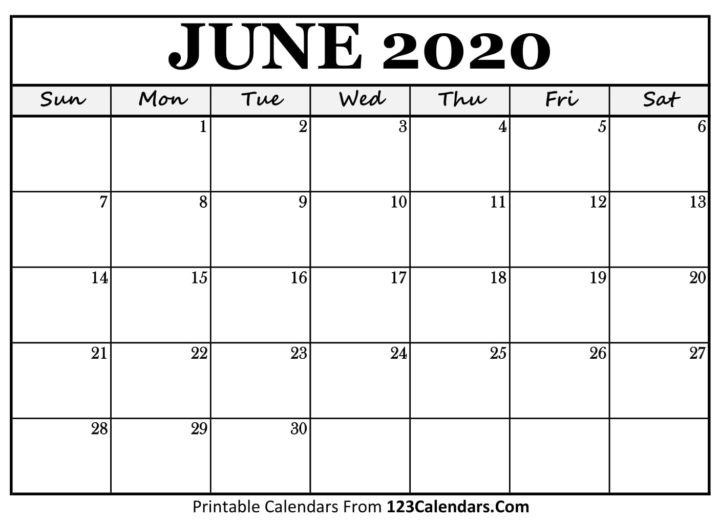 graphic about June Printable Calendar titled June 2020 Printable Calendar