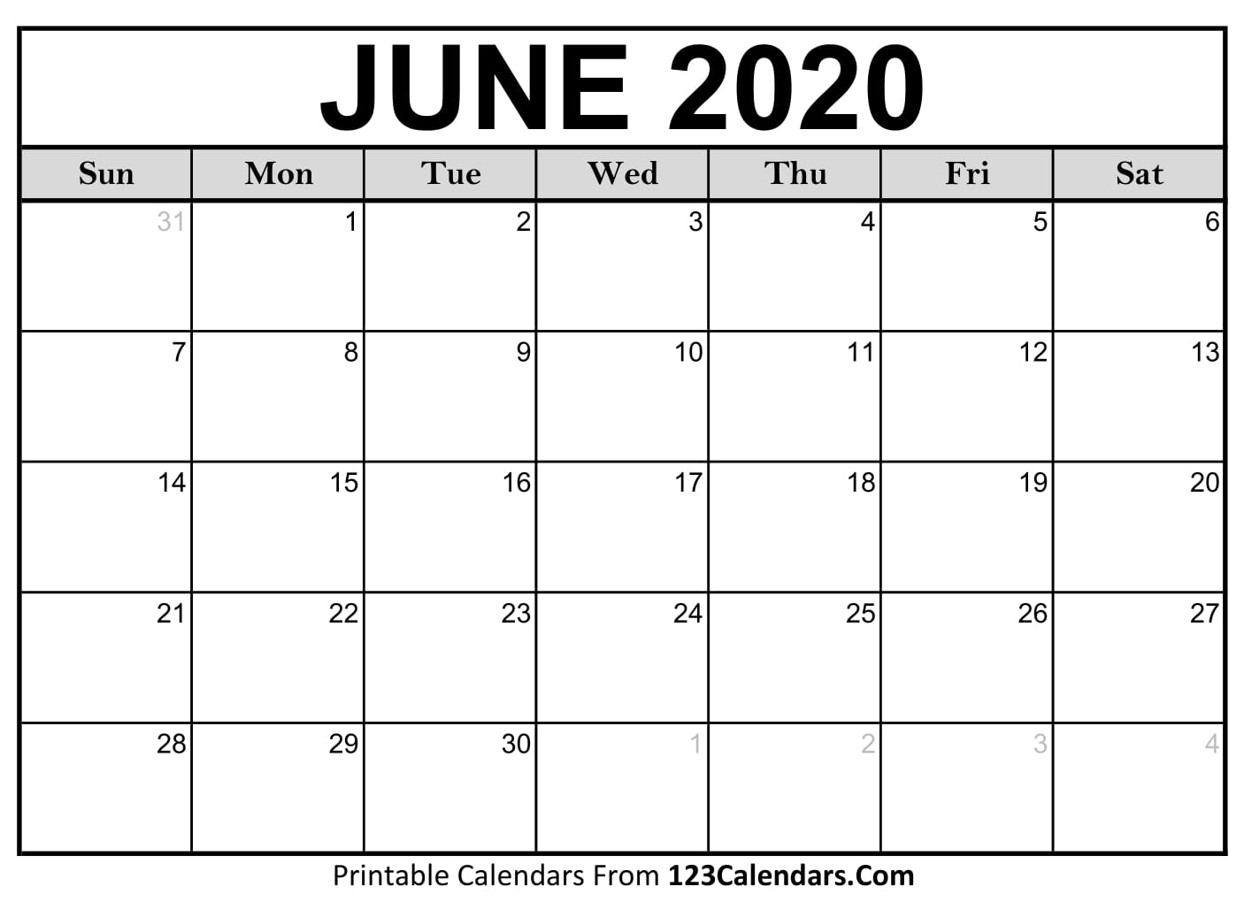image relating to Printable 2020 Calendar referred to as June 2020 Printable Calendar