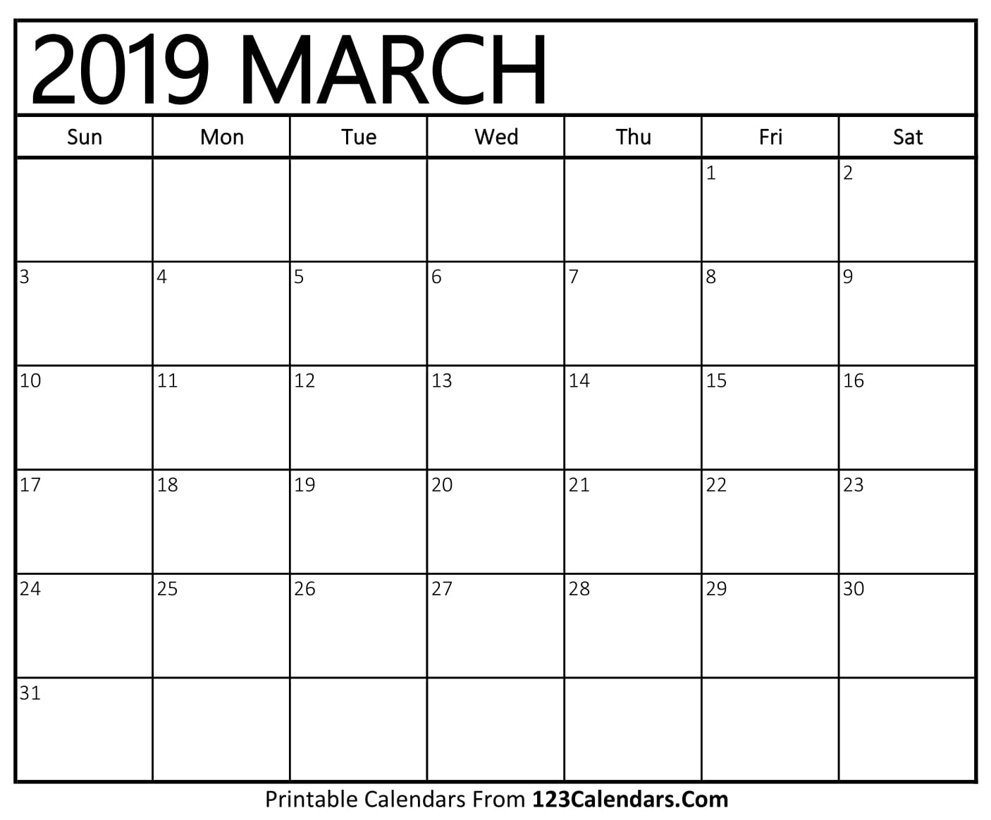 March 2019 Calendar Blank Easily Printable 123calendars