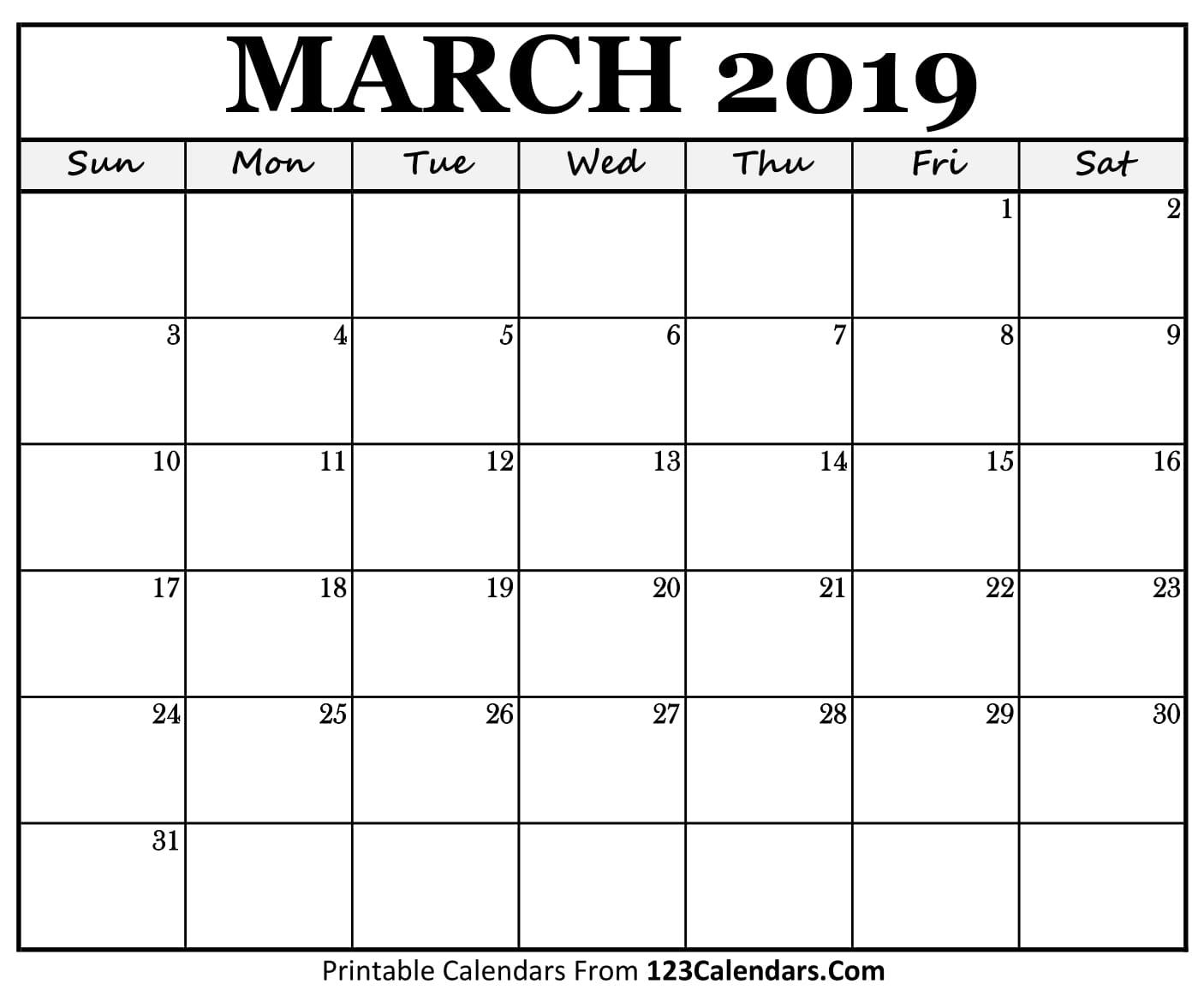 March 2019 Calendar Blank Easily Printable 123calendars