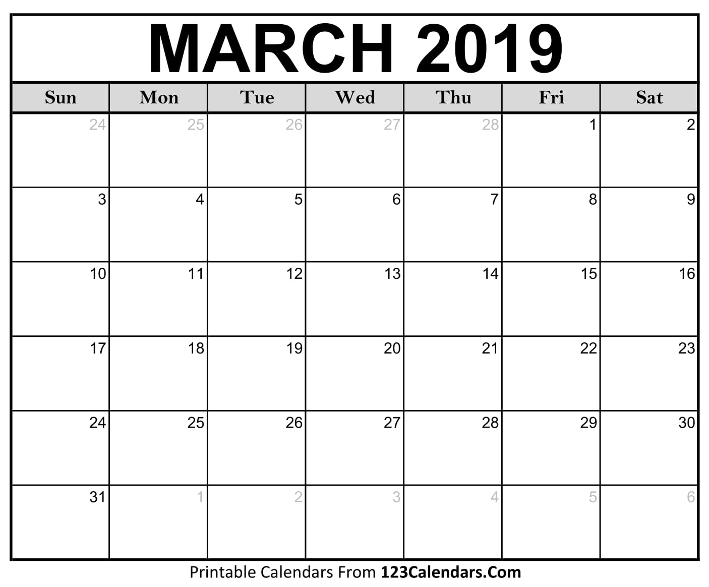 Blank Calendar Of March : Printable march calendar templates calendars