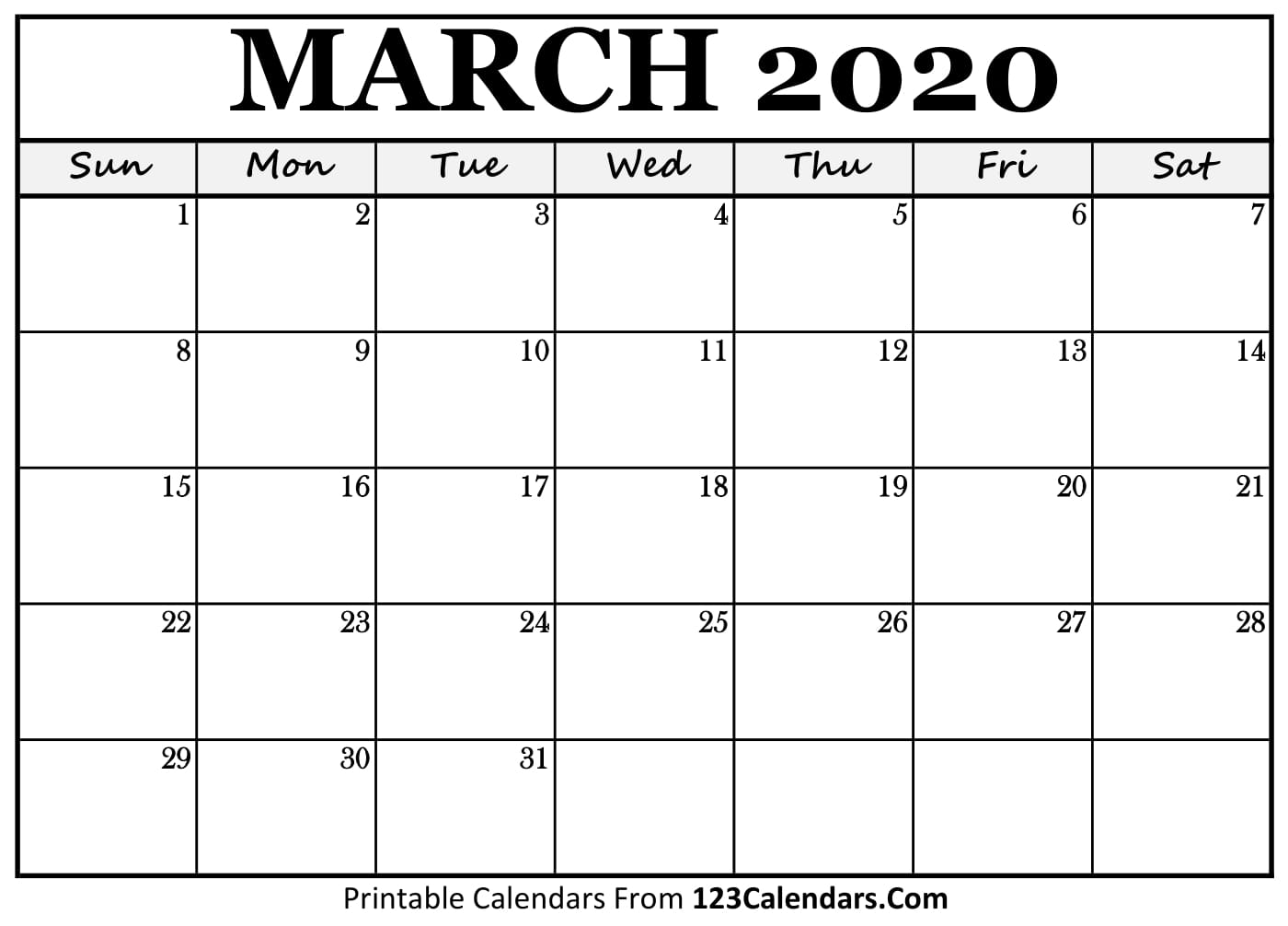 graphic relating to Calendar March Printable referred to as March 2020 Printable Calendar