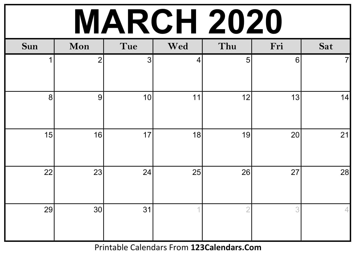 March 2020 Printable Calendar | 123Calendars com