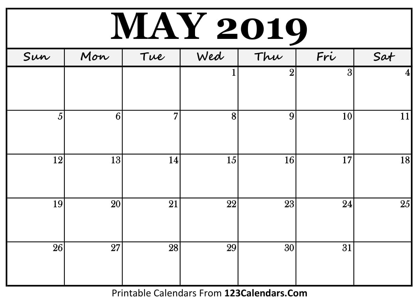 May 2019 Calendar Blank Easily Printable 123calendars