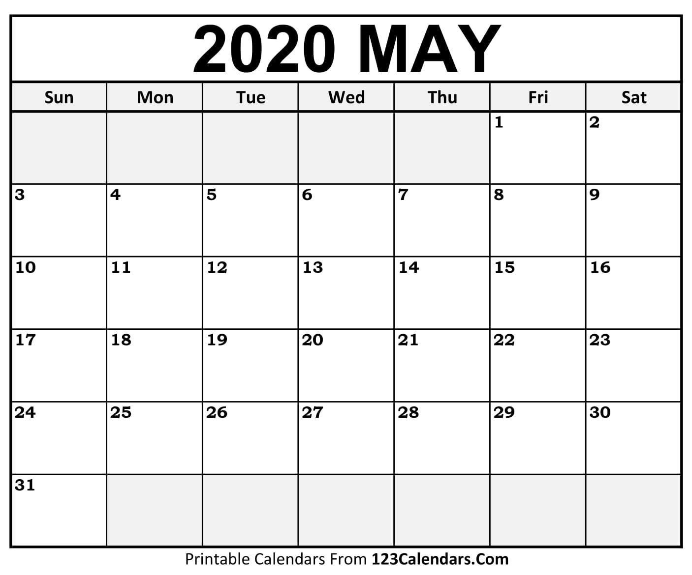 May 2020 Printable Calendar | 123Calendars com