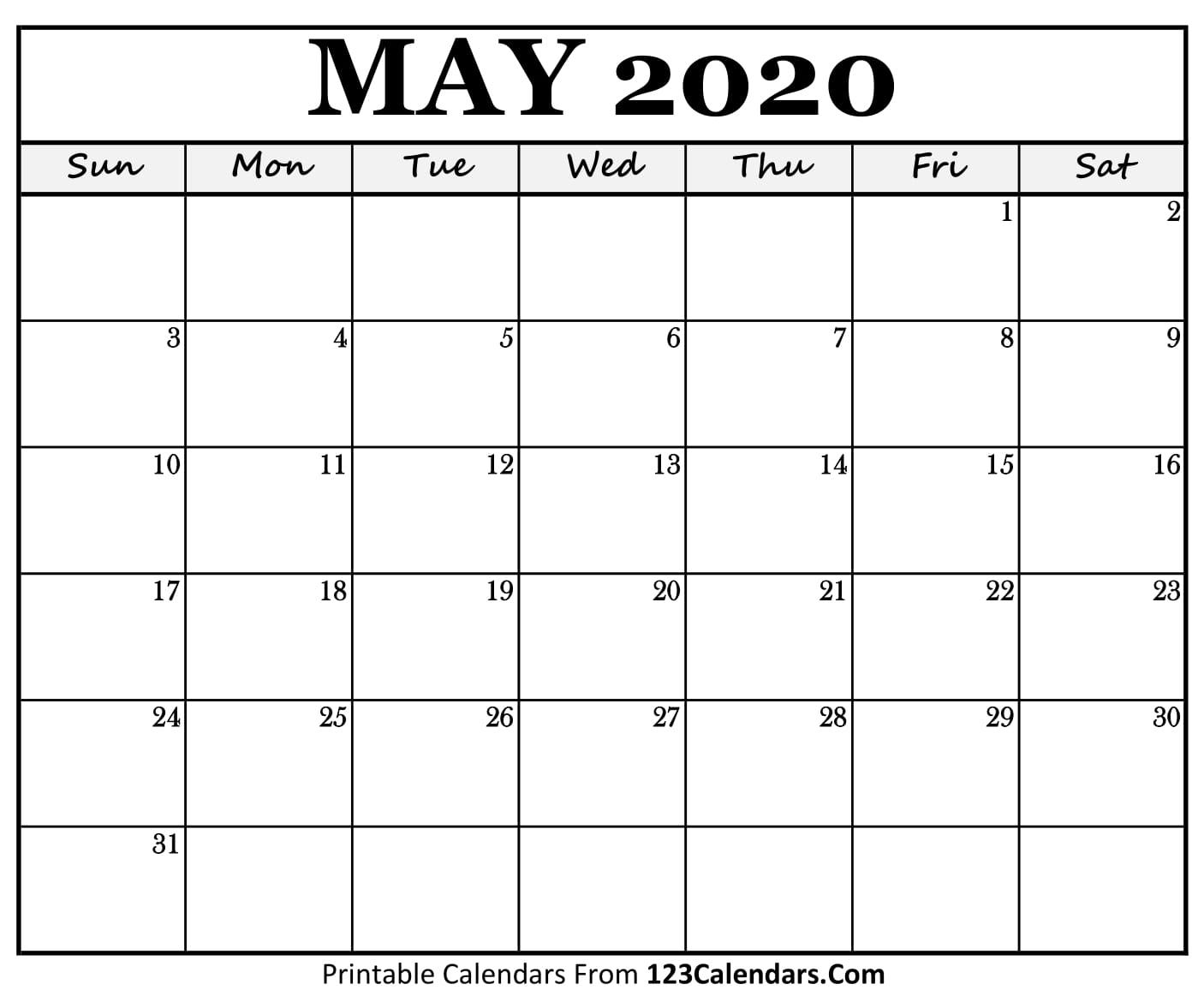 May Printable Calendar 2020.May 2020 Printable Calendar 123calendars Com