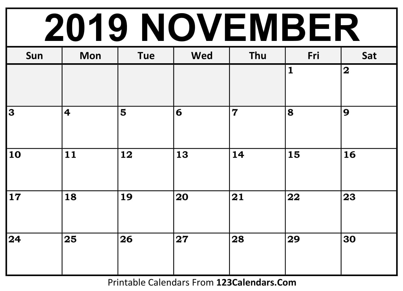 image about Printable Nov. Calendar called November 2019 Printable Calendar