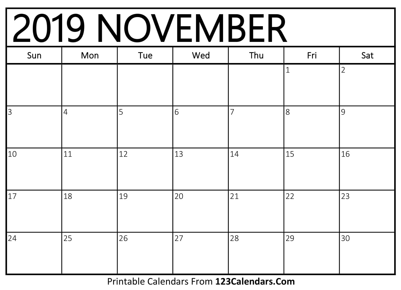 photo relating to November and December Calendar Printable called November 2019 Printable Calendar