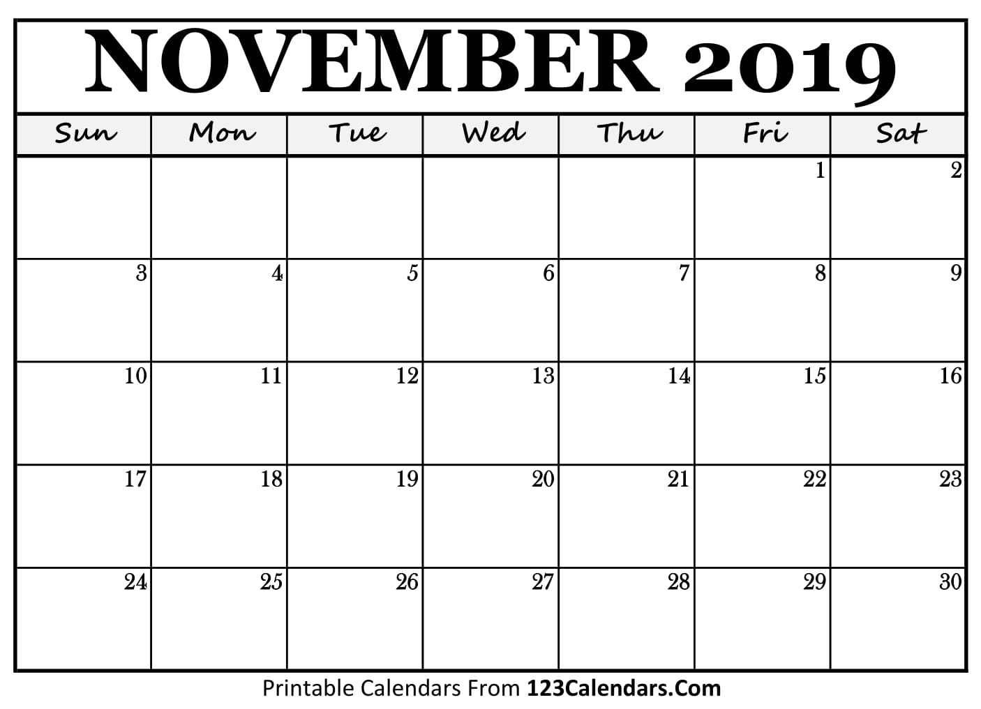 November 2019 Calendar Blank Easily Printable 123calendars