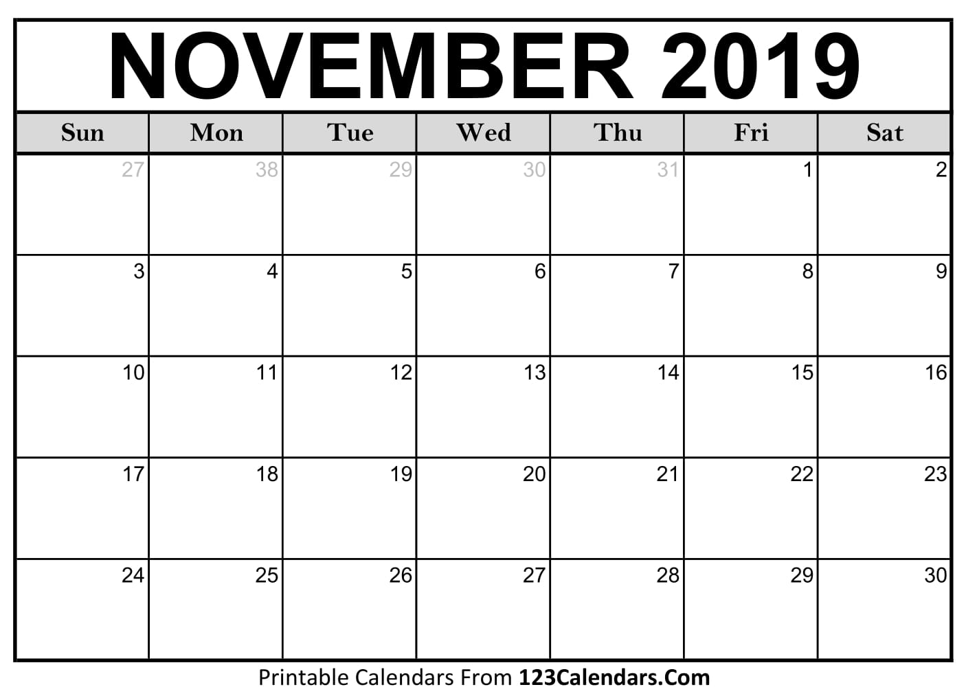 Free Blank Template November 2018 Calendar Printable USA