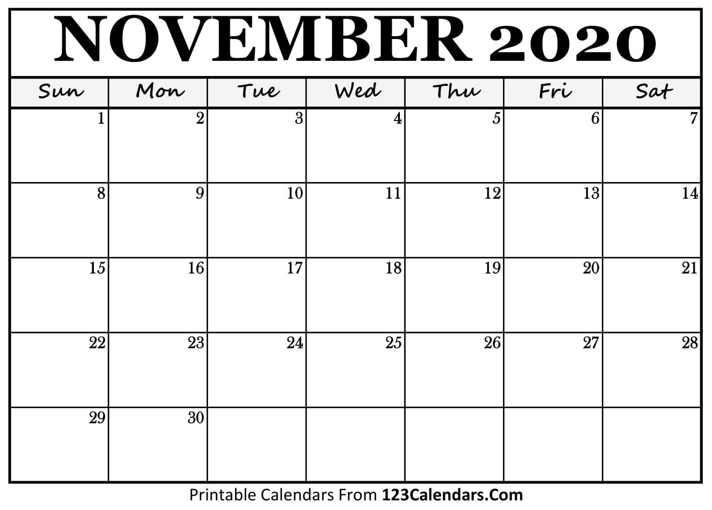 Printable November 2020 Calendar Templates 123calendars Com