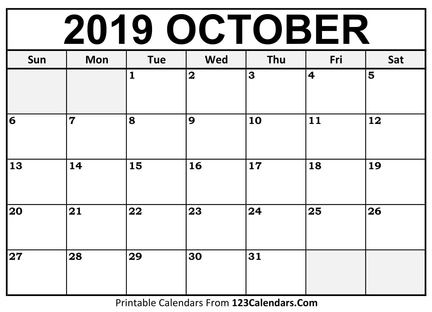 image about October Calendar Printable called Oct 2019 Printable Calendar